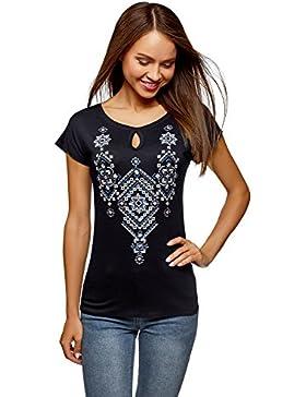 oodji Ultra Mujer Camiseta de Viscosa con Bordado