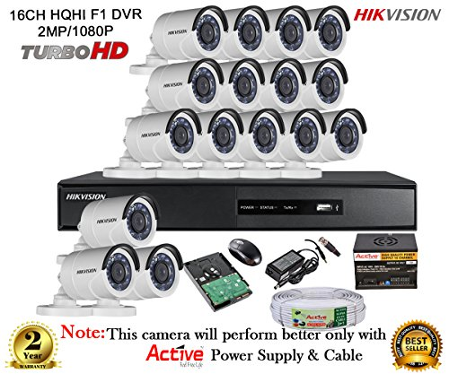 Hikvision Turbo DS-7216HQHI-E2 16CH DVR + Hikvision DS-2CE16DOT-IR Night Vision Bullet Camera 16pcs+ 2TB HDD + Active Cable + Active Power Supply (FULL COMBO)