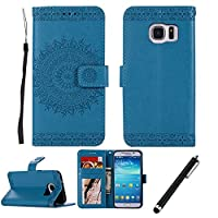 Samsung Galaxy S7 Edge Case,Samsung Galaxy S7 Edge Wallet Case,Beddouuk Vintage Flower Pattern PU Leather Wallet Case with Magnet Closure and Card Slots Holster,Book Style Design Protective Folder Case Cover for Samsung Galaxy S7 Edge(Blue,Totem)
