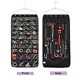 Tessuto non tessuto Storage organizer per gioielli e accessori da appendere con 40tasche 20ganci e passanti Black