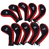 10 Golf Clubs Fer Ensemble à housse de Chef Rouge / Noir - Un jeu de capuchons de fer, y compris 3, 4, 5, 6, 7, 8, 9, PW, SW A et