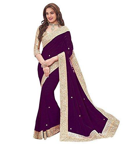 7Th Feb Chiffon Silk Saree With Blouse Piece (7 Priya Darkpink_Beige_Free Size)
