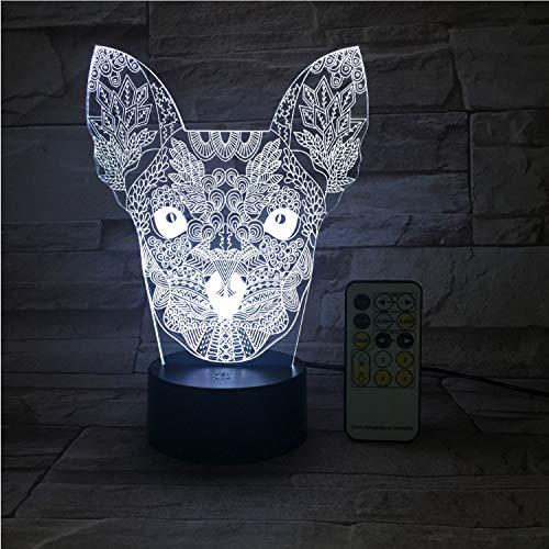 Big Ear Cat Lover Night Light Interrupteur Tactile Usb 3D Et Télécommande Acrylic 7 Gradient Atmosphere Lampe De Table