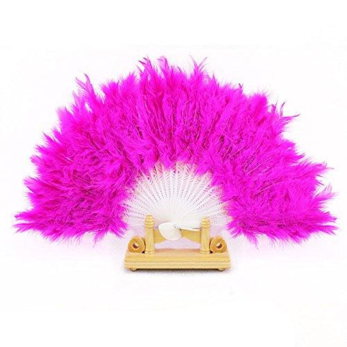 Andouy Retro Faltfächer/Handfächer/Papierfächer/Federfächer/Sandelholz Fan/Bambusfächer für Hochzeit, Party, Tanzen(26cm.Pink-A) (Racer Boy Kostüm)