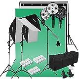 CRAPHY 2000W Estudio de Fotografía Softbox Kit de Iluminación Continua con Soporte de Fondo, Fondo (Verde, Blanco, Negro), 45w Lámpara, Soporte de Luz, Kit de Soporte y Bolsa Portátil EU Plug