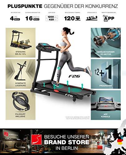 Sportstech F26 & F31 Profi Laufband mit Smartphone App Steuerung Pulsgurt inklusive – kompakt klappbar verstaubar Abbildung 2