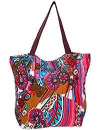 IndiWeaves Women's Handmade Ethnic Cotton Printed Tote Hand Bag_Pink