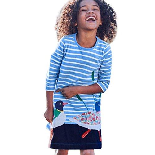 ly Baby Embroidery Lange T-shirt Langarm Prinzessin Kleid Baby Spitzenkleid Mädchen A-line Kleid Festlich Kleider Mädchen Prinzessin Kleid Hochzeit Partykleid Taufkleid Tüll Festzug (130, Blau) (Prinzessin Belle Kostüm Kleinkind)