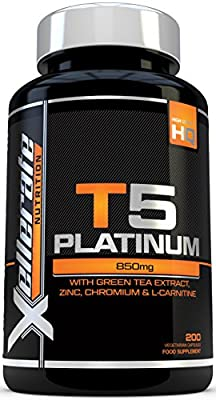 T5 Fat Burners - 200 Capsules - UK Manufactured Thermogenic Fat Burner - Suitable for Vegetarians & Vegans - Ingredients Include Green Tea Extract, Green Coffee Bean Extract, L-Carnitine and More from Xellerate Nutrition