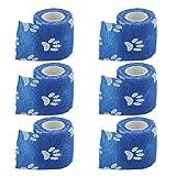 Sharplace 6 Stück Elastische Bandage Selbsthaftend Verband für Haustiere Hund Sport Freizeit, Blau