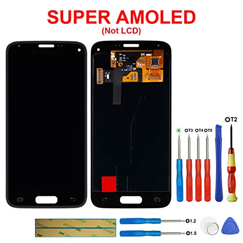 SWARK Super AMOLED Display Kompatibel mit Samsung Galaxy S5 Mini SM-G800F (Schwarz ohne Rahmen) LCD Display Touchscreen Bildschirm Digitizer Assembly Glas + Tools