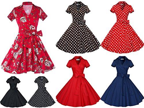 Smile YKK Rétro Audrey Hepburn Style Robe à Manche Courte Nœud à deux Boucles Rouge Pois