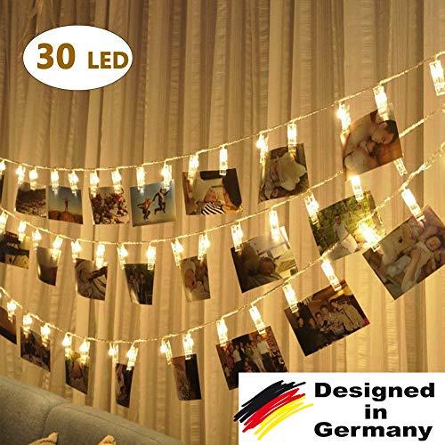 30 LED Foto 3m Lichterkette, Warmweiß, Fotos Clips, Batteriebetrieben Stimmungsbeleuchtung, Photo Dekoration für Wohnzimmer, Bar, Cafe, Weihnachten, Hochzeiten, Party, Clip String Photos BBQ