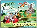 Ritter Einladungskarten Kindergeburtstag mit Burg und Drachen Einladung Kinder Ritterparty Set Jungen Mädchen Ritterburg Jungs Drachen Schloß Prinz Buben