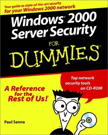 Windows 2000 Server Security For Dummies (For Dummies Series) Windows-computer-schutz