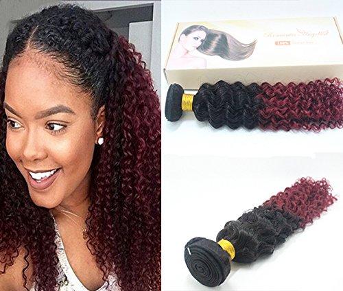 16''(40cm) afro crépus extensions de cheveux bouclés, Remy cheveux humains tissage grade 5A, Couleur#1b/bordeaux