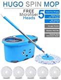 #9: Hugo Mop Bucket Magic Spin Mop Bucket Double Drive Hand Pressure With 5 Microfiber Mop Head Household Floor Cleaning & 4 Color May Vary (With Soap Dispenser)