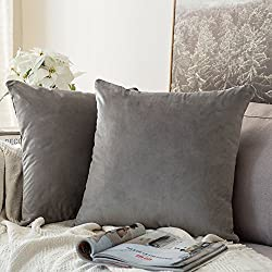 MIULEE Velvet Soft Soild Microfiber Decorative Square Pillow Case Throw Cushion Cover for Sofa Bedroom Car with Invisible Zipper 18x18 Inch 45x45cm Grey Set of Two Lined