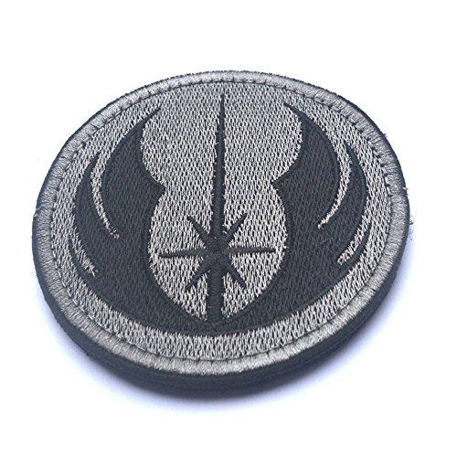 Abzeichen und Patches, Star Wars Jedi bestickt Verschluss Patch Airsoft Paintball Patch für Rucksack Jacke (grau)