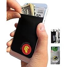 Gecko–Funda para teléfono Cartera y bloqueo RFID, un adhesivo elástico lycra tarjeta soporte universal compatible con la mayoría de teléfonos móviles y casos. Xtra Tall bolsillo cubre totalmente tarjetas de crédito y efectivo negro león