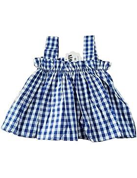 Bebé Niña Tartán de Camisa Sin Mangas Verano Blusa Volante Fruncido Ropa