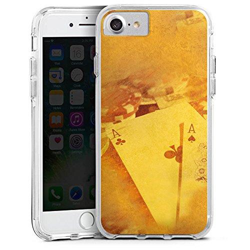 Apple iPhone 6 Plus Bumper Hülle Bumper Case Glitzer Hülle Cards Karten Poker Bumper Case transparent
