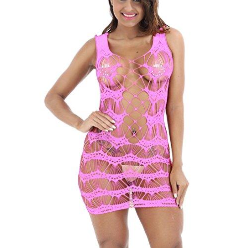 Mesh-spandex-strumpfband (Sexy Dessous, Beikoard Frauen sexy Mesh Lingerie Pure Colour Netztasche Minikleid Mini Dress Free Größe Body (Rosa))