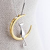 Elistelle Gold Mood Fashion Fine 925 Silver Cats Moon Pendant Necklace Romantic Charm Alloy Chain Necklaces Cute Women Jewelry Gifts Accessories