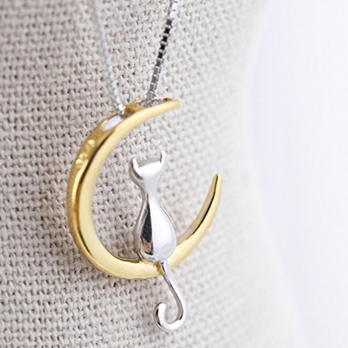 - 51FZABuZkHL - Elistelle Gold Mood Fashion Fine 925 Silver Cats Moon Pendant Necklace Romantic Charm Alloy Chain Necklaces Cute Women Jewelry Gifts Accessories