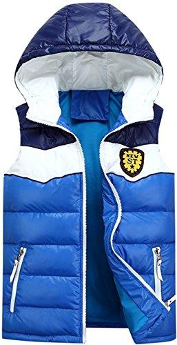 jeansian Herren Mode warme Kapuzenjacke Baumwolle Weste Kleidung LD812 Lightblue