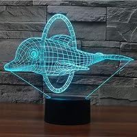 Weihnachten Fisch 3D Illusion Lampe 7 Farbwechsel Fernbedienung Nachtlicht für Baby Schlafzimmer Dekoration Geburtstagsgeschenk Möbel & Wohnaccessoires Neuheit Lampe