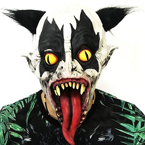 HVNFGJ Terroristische Latexmaske, Halloween-Variation Gelbe Augen Lange Zungenclown-Kopfbedeckung, Party Ganze Person Lustige Facettenrequisiten