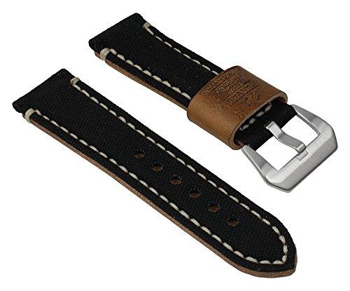 Ersatzband Uhrenarmband 'Back in Black' Canvas/Leder Band Schwarz mit Naht 24mm 25824S (Uhrenarmband Canvas Leder)
