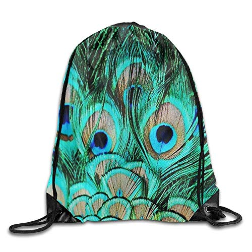 DHNKW Drawstring Bag Blue Backpack Draw Cord Bag Sackpack Shoulder Bags Bag Large Lightweight for Men and Women Hiking Swimming Yoga -