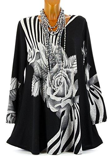 Charleselie94® Tunique Longue Ample Bohème Hiver Noir Delphine Noir Noir