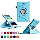 Samsung Galaxy Tab 3 7.0 Case,Flying Horse Tablet Case Cover (Luxury 360 Rotating PU Leather/Smart Cover Wake/Sleep Function)With Pen and Screen Protector (Blue) by Flying Horse