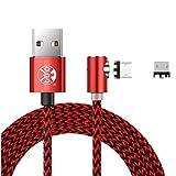 3M Nylon Geflochtene 360 Grad Rund magnetische Micro-USB-Ladekabel, L Seite Schnittstelle 2 in 1 Magnet-Adapter für Samsung Galaxy S7 S6, Huawei und Mehr Android-Handys (Rot)