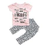 Kinderbekleidung,Internet Mädchen Kleid Baby Mädchen gedruckt T-shirt Tops + Hose (100, Rose)
