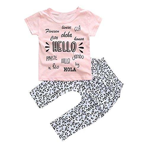 Kinderbekleidung,Internet Mädchen Kleid Baby Mädchen gedruckt T-shirt Tops + Hose (100, Rose) (Collar-kleid White Shirt)