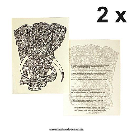 2 x Elefant Mandala Tattoo - buddhistisches Symbol - Afrika Design - Haut Tattoo (2) (Halloween-make-up 10 Min)