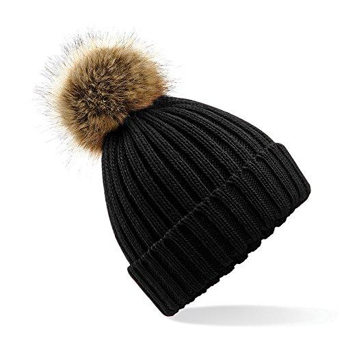 Beechfield - Bonnet d'hiver à revers - Mixte (Taille unique) (Noir)