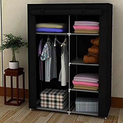 Black Portable Home Canvas Wardrobe Storage Closet Organizer Rack with Shelves produced by EBS - quick delivery from UK