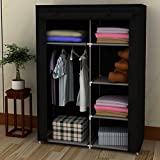 EBS Portable Home Canvas Wardrobe Storage Closet Clothes Shoe Organiser Rack System - Black fabric 154 x 45 x 105 cm