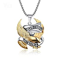 Heyrock Eagle Necklace Pendant for Men Stainless Steel Metal LIVE TO RIDE Punk Jewelry