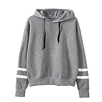 Khhalisi Women's Full Sleeves Striped Sweatshirt Hoodie Grey