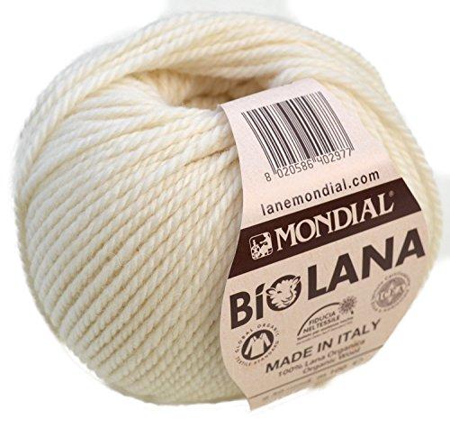 Lane Mondial Bio Lana BioLana Naturwolle Fb. 340 - Natur, 50g Organic Wool, Biowolle, 100% Reine Schurwolle Zum Stricken und Häkeln