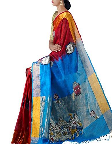 Unnati Silks Women Red-Blue Pure Uppada Handloom Silk Cotton Pattu Saree