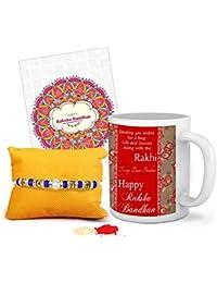 TIED RIBBONS Ceramic 325ml Coffee Mug for Rakhi Gift (Multicolour)