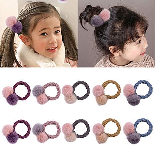 10 Stück süßer Bommel elastische Haarbänder Pompon Haargummi für Baby Mädchen Pferdeschwanz...