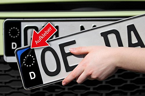 KFZ Kennzeichenaufkleber zum einfachen ändern der blauen EU Nummernschild Fläche in schwarz